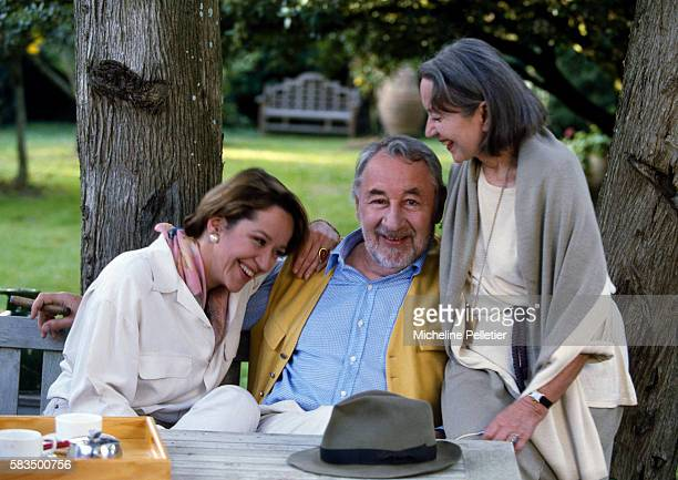 French actor Philippe Noiret with his wife actress Monique Chaumette and their daughter Frédérique Noiret at their home in Montreal around Carcassone
