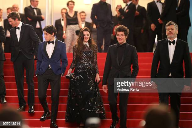 French actor Pierre Deladonchamps French actress Adele Wismes French actor Vincent Lacoste and French director Christophe Honore depart the screening...