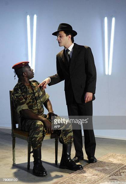 French actor Pierre Hiessler and Moussa Sanou of Burkina Faso perform during a rehearsal of the show Mitterrand and Sankara directed by French...