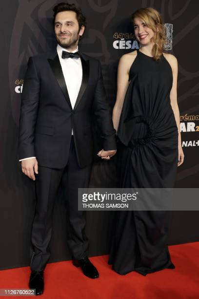 French actor Pio Marmai and French actress Adele Haenel pose upon arrival at the 44th edition of the Cesar Film Awards ceremony at the Salle Pleyel...