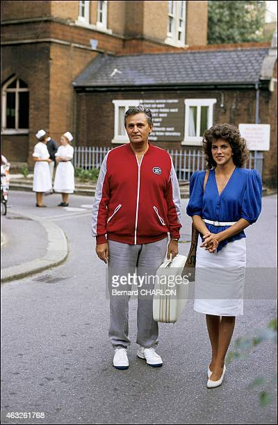 French actor Roger Hanin and actress Clio Goldsmith during the set of the film 'L'étincelle' directed by Michel Lang in France on September 14 1983