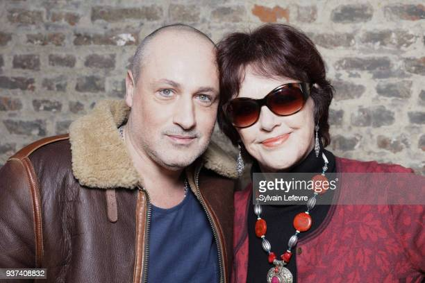 French actor Romeo Sarfati poses with actress Anny Duperey in Valenciennes before the tribute to her during the closing ceremony of Valenciennes Film...