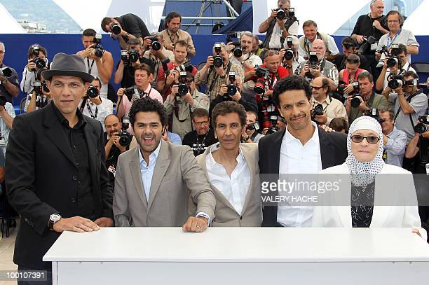 French actor Roschdy Zem French actor Jamel Debbouze French director Rachid Bouchareb French actor Sami Bouajila and actress Chafia Boudraa pose...