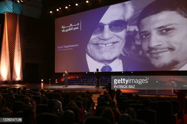 French actor Said Taghmaoui recieves the Omar Sharif award at the opening ceremony of the 4th edition of El Gouna Film Festival, in the Egyptian Red...