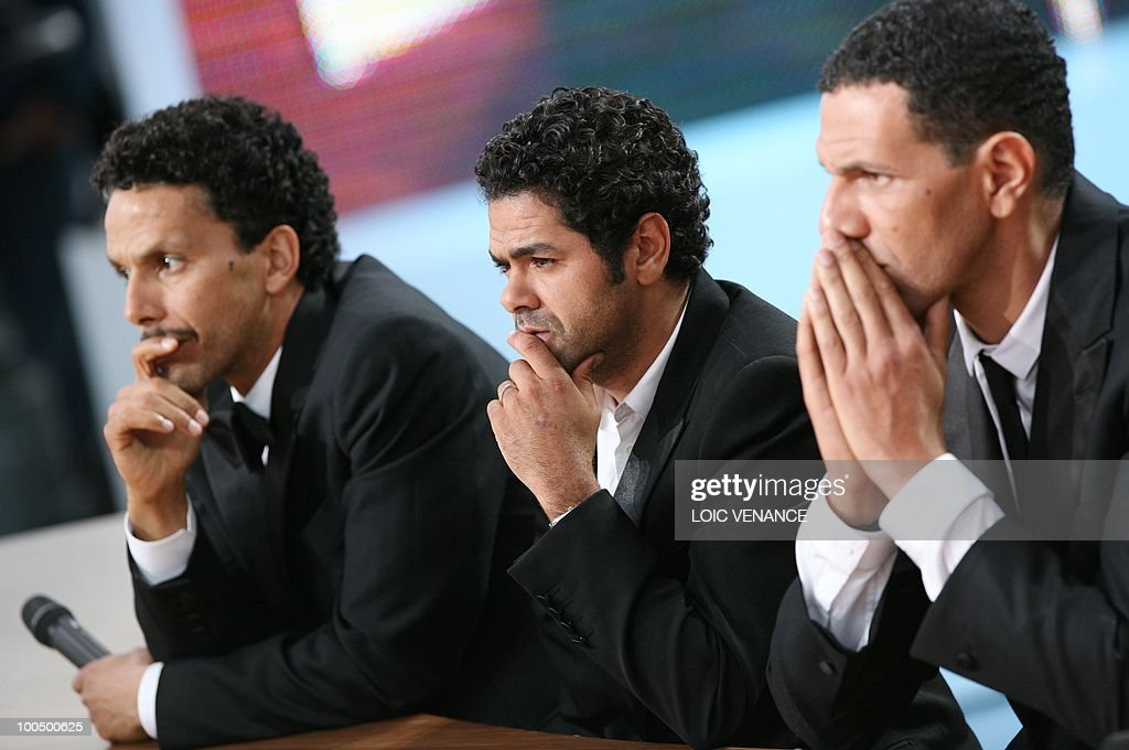 French actor Sami Bouajila (L), French actor Jamel Debbouze (C) and French actor Roschdy Zem during the Canal+ TV show 'Le Grand Journal' at the 63rd Cannes Film Festival on May 21, 2010 in Cannes.