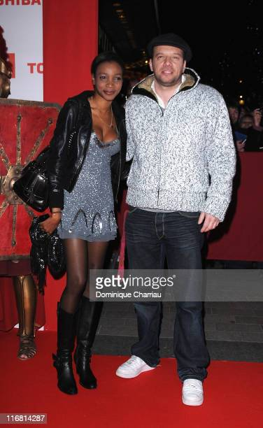 French Actor Samuel Le Bihan and his wife Daniela Beye attend Asterix At The Olympic Games Paris Premiere at the Gaumont Marignan Champs Elysees on...