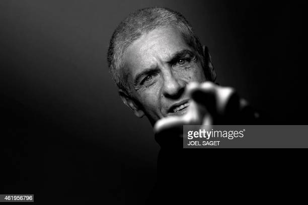 French actor Samy Naceri poses on January 20 2015 in Paris Naceri will play on the stage of the Petit Gymnase theatre in Paris in the play L'indien...