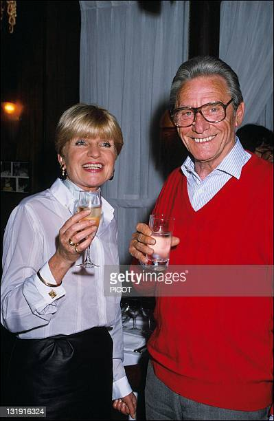 French actor screenwriter and film director Robert Lamoureux with French writer Francoise Dorin in France in 1988