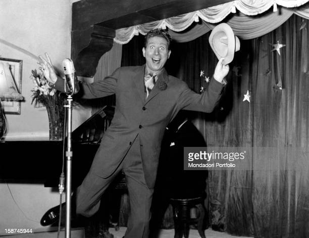 French actor singer and songwriter Charles Trenet dancing in Giovinezza Italy 1952