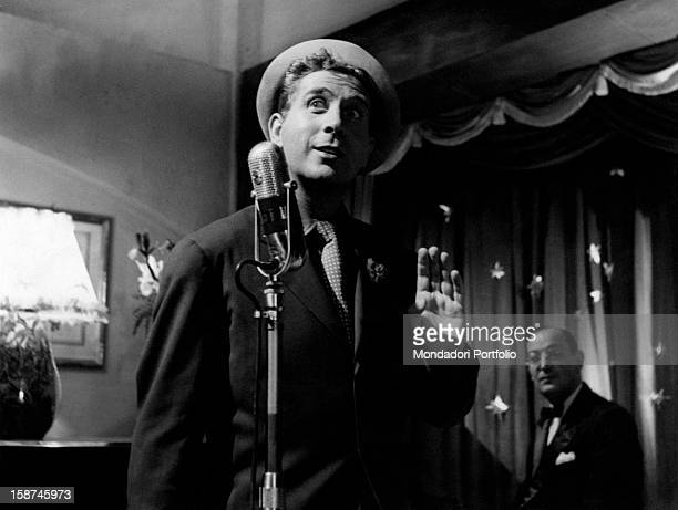 French actor singer and songwriter Charles Trenet singing in Giovinezza Italy 1952
