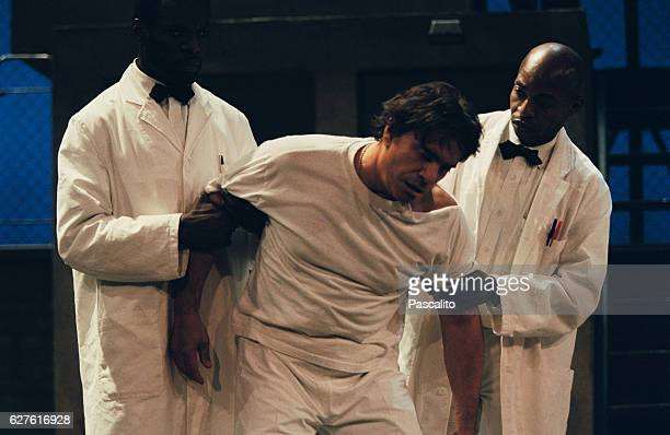 French actor singer businessman politician and TV presenter Bernard Tapie performs in the play One Flew Over the Cuckoo's Nest