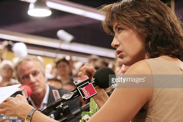 French actor Sophie Marceau answers journalists' questions during the presentation of Alain Monne's last movie L'homme de Chevet as part of the...