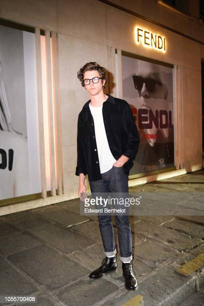 French actor Thomas Soliveres is seen outside the Fendi cocktail #Fendimania on October 16 2018 in Paris France