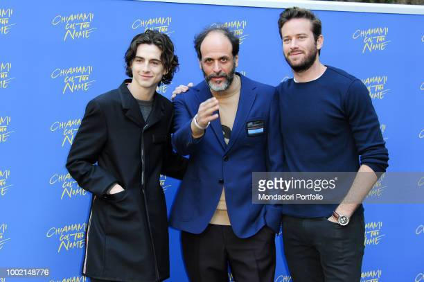 French actor Timothée Chalamet italian director Luca Guadagnino and US actor Armie Hammer attend Call Me by Your Name photocall at Hotel de Russie...