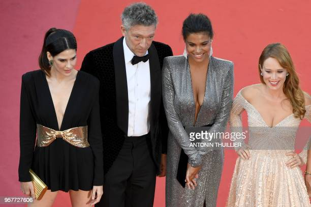French actor Vincent Cassel and his partner French model Tina Kunakey pose as they arrive on May 12 2018 for the screening of the film Girls of the...