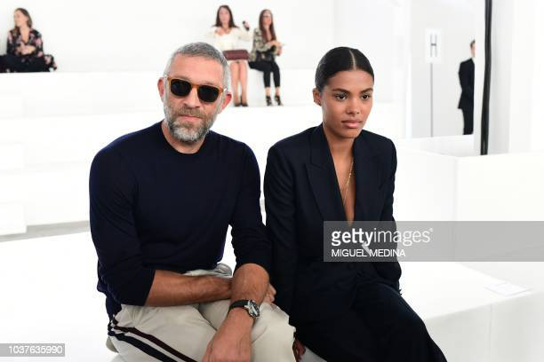 French actor Vincent Cassel and his wife French model Tina Kunakey Cassel meet with English fashion designer Paul Surridge prior to the presentation...