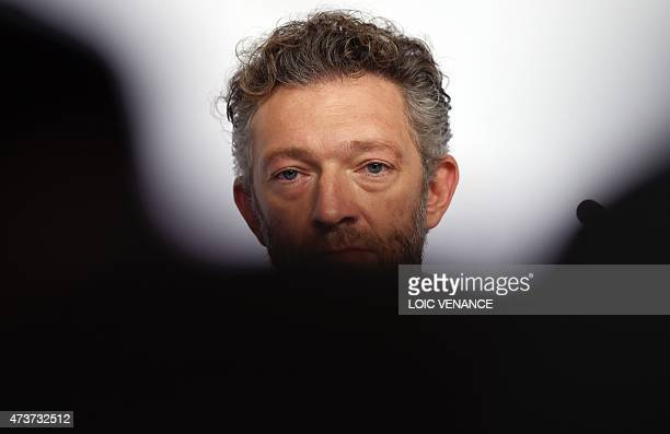 """French actor Vincent Cassel attends a press conference for the film """"Mon Roi"""" at the 68th Cannes Film Festival in Cannes, southeastern France, on May..."""