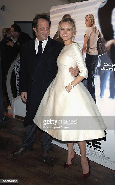 French Actor Vincent Lindon and German Actress Diane Kruger attends Pour Elle Paris Premiere at the Paramount Opera on November 30 2008 in Paris...