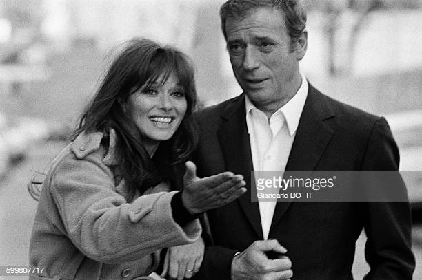 French actor Yves Montand and Italian actress Lea Massari on the set of the movie 'Le Fils' directed by Pierre GranierDeferre in France in 1972
