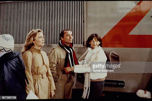 French actores Brigitte Fossey Claude Brasseur and Sophie Marceau on the set of La Boum written and directed by Claude Pinoteau