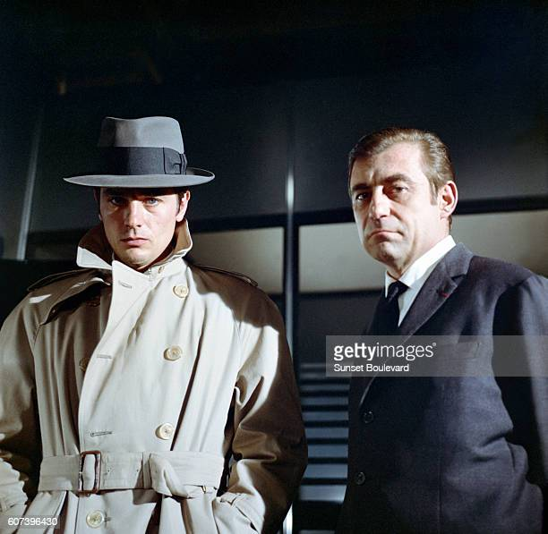 French actors Alain Delon and Francois Perier on the set of Le Samourai written and directed by JeanPierre Melville