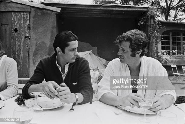 French actors Alain Delon and JeanPaul Belmondo on the set of gangster movie Borsalino directed by Jacques Deray in 1970 in Paris France