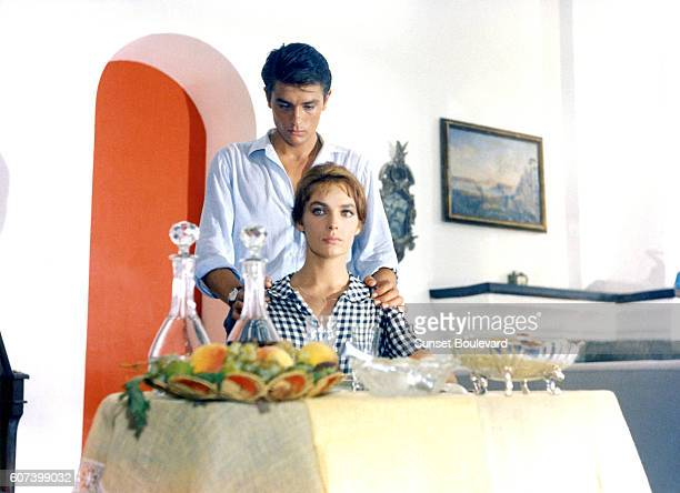 French actors Alain Delon and Marie Laforet on the set of Plein Soleil , written and directed by Rene Clement.