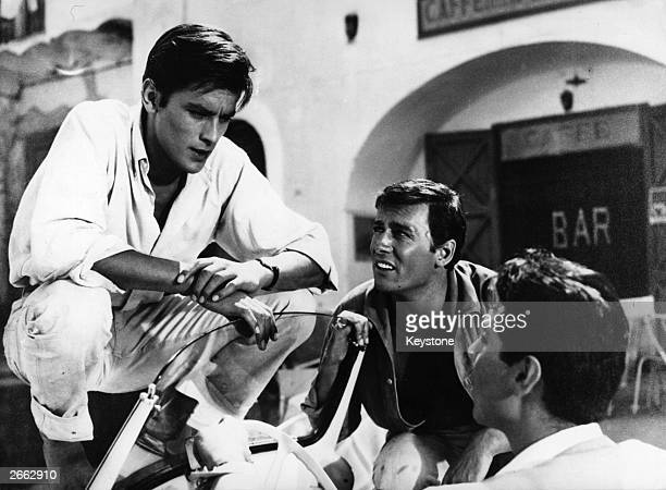 French actors Alain Delon and Maurice Ronet filming Rene Clement's thriller 'Plein Soleil' based on the Patricia Highsmith novel 'The Talented Mr...
