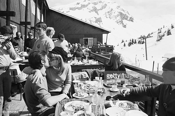 French actors Alain Delon with wife Nathalie Delon on winter sports holiday
