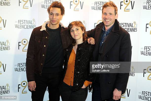 French actors Alexis Loret Wild Bunch Distribution agent and Corentin Fila attend 6th Valenciennes Cinema Festival on March 18 2016 in Valenciennes...