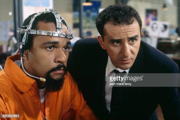 """French actors and humorists Elie Semoun and Dieudonne on the set of the 1998 film """"Le Clone"""", by Italian director and screenwriter Fabio Conversi."""