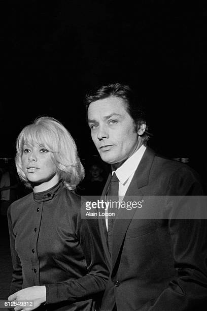 French actors and partners Mireille Darc and Alain Delon attend the premiere of the movie La Sirene du Mississipi written and directed by Francois...