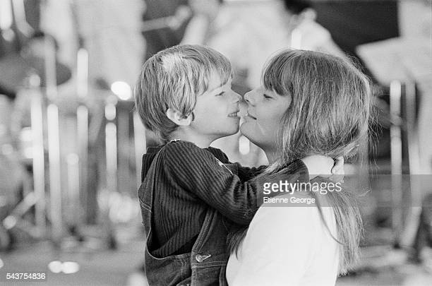 French actors and reallife siblings Marie and Vincent Trintignant on the set of the film Premier Voyage directed by their mother French director...