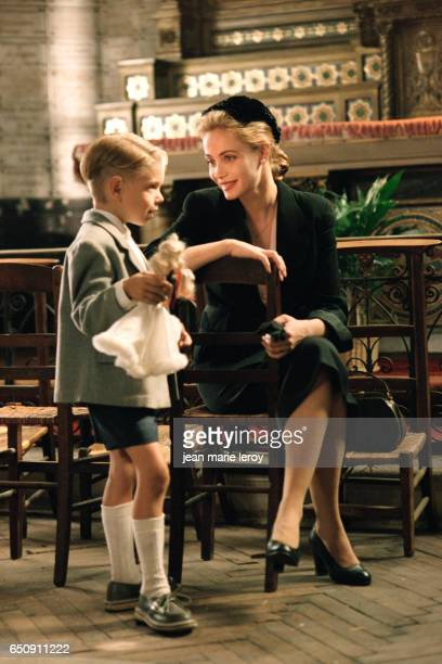 French actors Antoine du Merle and Emmanuelle Beart on the set of Une Femme Francaise by French director screenwriter and actor Regis Wargnier