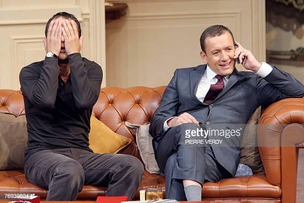 French actors Arthur and Dany Boon perform during a rehearsal of the play Le dner de Cons 19 September 2007 at the Theatre de la Porte SaintMartin in...