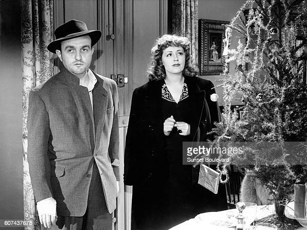 French actors Bernard Blier and Suzy Delair on the set of Quai des Orfèvres based on the novel by StanislasAndré Steeman and directed by HenriGeorges...