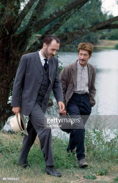 French actors Bernard Le Coq and Jacques Dutronc on the set of the film Van Gogh directed by Maurice Pialat