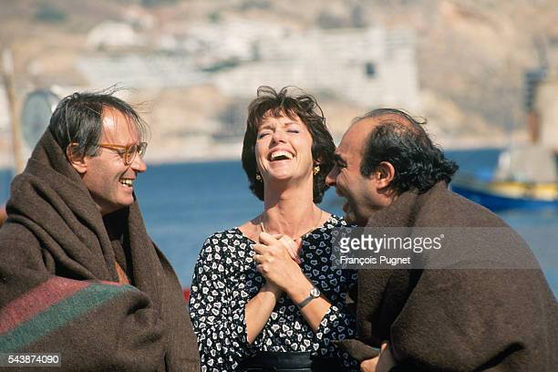 """French actors Bernard Le Coq, Anny Duperey and Philippe Khorsand on the set of television series """"Une famille formidable"""", episode one: """"Les parents..."""