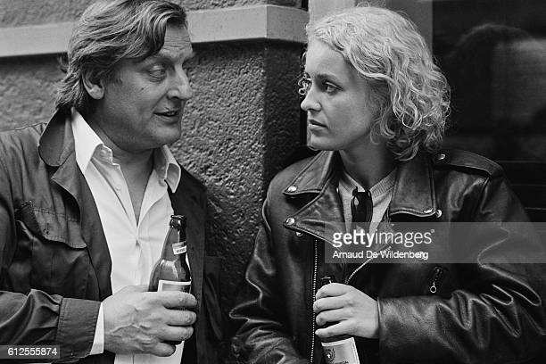French actors Bruno Cremer and Fanny Cottencon on the set of Fanny Pelopaja wrtten and directed by Spanish Vicente Aranda | Location Barcelona Spain