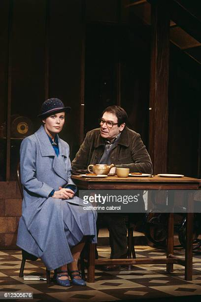 French actors Candice Patou and Robert Hossein during a production of the play Lorna et Ted