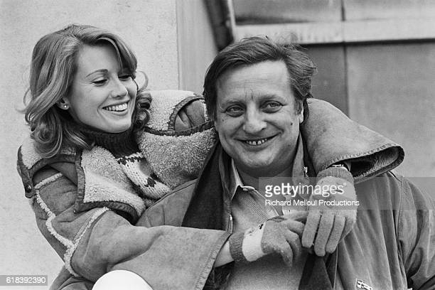 French actors Catherine Alric and Bruno Cremer on the set of La puce et le prive directed by Roger Kay