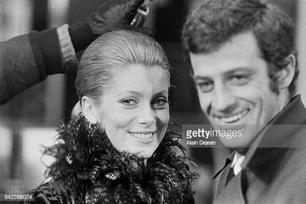 French actors Catherine Deneuve and JeanPaul Belmondo on the set of La Sirene du Mississipi by director screenwriter and producer François Truffaut