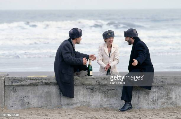 French actors Charles Berling Charlotte Gainsbourg and Yvan Attal on the set of the film Love etc directed by Marion Vernoux