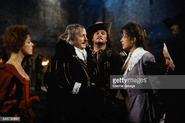 French actors Charlotte Kady Claude Rich X and Sophie Marceau on the set of the film La fille de d'Artagnan directed by French director Bertrand...