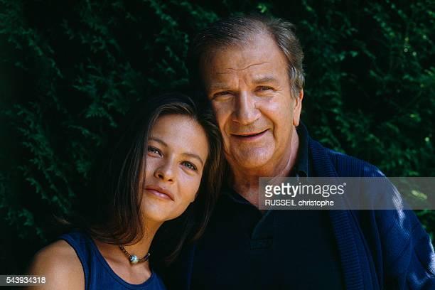 French actors Charlotte Valandrey and Pierre Mondy on the set of television series 'Les Cordier Juge et Flic' episode 'La Voix du Sang'