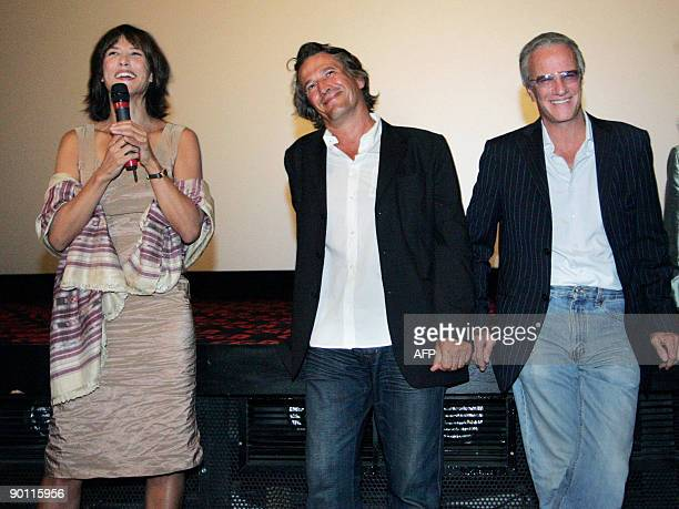French actors Christophe Lambert and Sophie Marceau and French director Alain Monne present their movie L'homme de Chevet on August 27 2009 in...