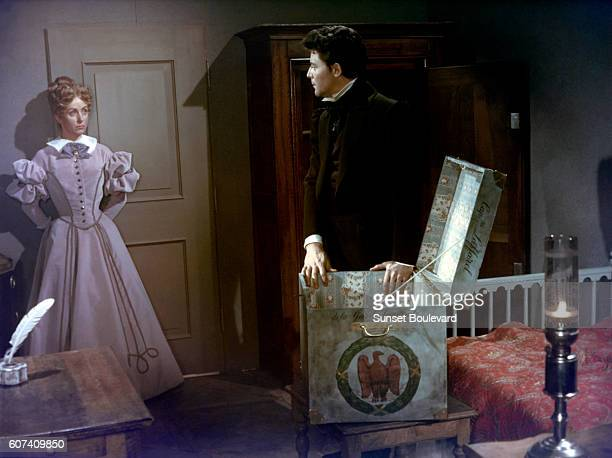 French actors Danielle Darrieux and Gerard Philipe on the set of Le Rouge et le Noir based on the novel by Stendhal and directed by Claude AutantLara