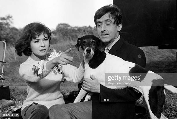 French Actors Dany Carrel And Jean Lefebvre With A Dog During The Shooting Of The Film Un Idiot A Paris Near Rambouillet On October 22Nd 1966