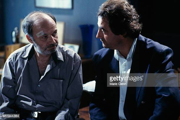 French actors directors screenwriters and producers Claude Berri and Richard Bohringer on the set of Stan the Flasher directed by singer songwriter...