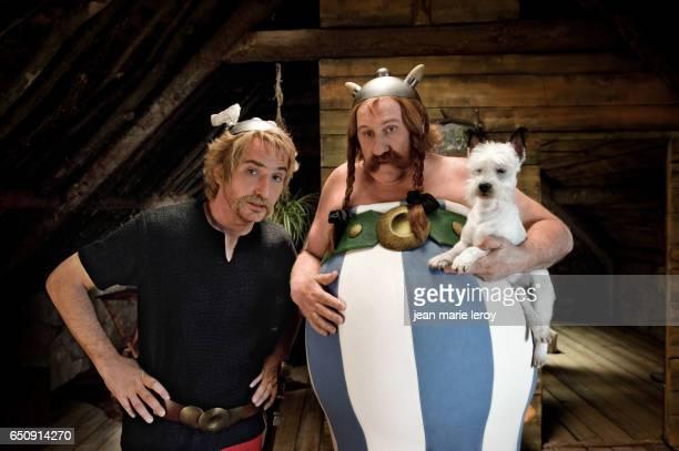 French actors Edouard Baer and Gérard Depardieu on the set of Astérix & Obélix: Au service de sa Majesté, based on the comic book by René Goscinny...